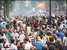 crowds at the Notting Hill carnival