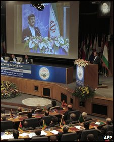Iranian President Mahmoud Ahmadinejad delivers a speech at the opening session of a two-day nuclear disarmament conference hosted by Tehran on 17 April
