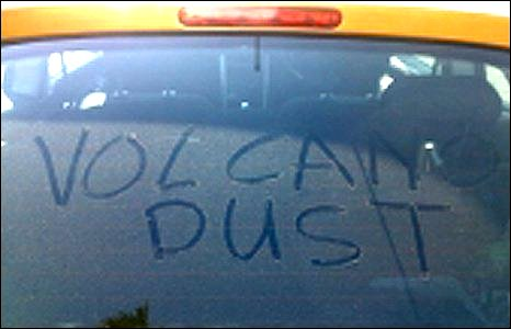 Volcano dust on car
