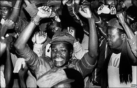 Zanla (Zimbabwe African National Liberation Army) forces celebrate