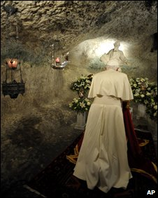 Pope Benedict XVI in the grotto of the St Paul church in Rabat, Malta