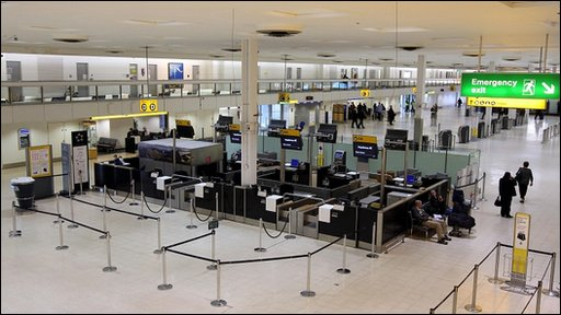An eerily empty Terminal 1 at Heathrow