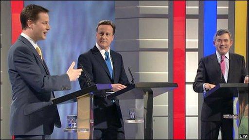 Nick Clegg, David Cameron and Gordon Brown in the ITV leaders' debate