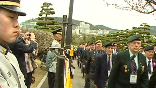 British veterans parade past South Korean soldiers
