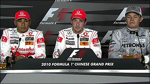 Lewis Hamilton, Jenson Button and Nico Rosberg