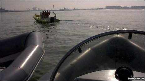 Boats set off to help people (Dan Snow Twitpic picture)