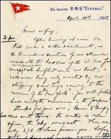 Letter from Titanic passenger