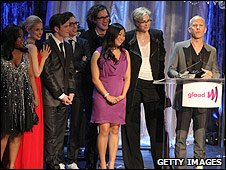 Glee actors and creator Ryan Murphy (r)