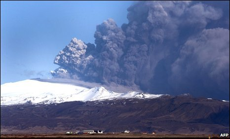 The ash cloud has blown across the Atlantic from Iceland