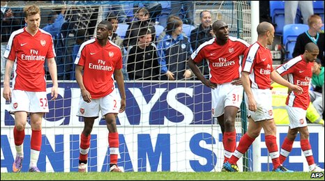 Arsenal players react after conceding at Wigan
