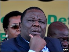 Morgan Tsvangirai at independence rally in Harare, 18 April 2010