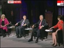 L-R: Cheryl Gillan, Ieuan Wyn Jones, Peter Hain and Kirsty Williams in the Sky News Welsh leaders' debate