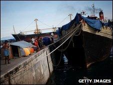 The Sri Lankan asylum seekers' boat in Merak on 14 April 2010