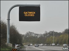 Sign over the M23 motorway