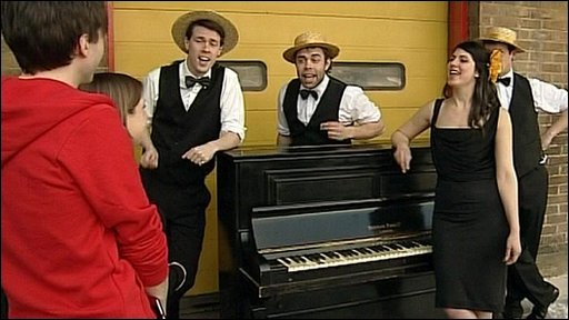 Danny Robins, Sarah Teather and a barbershop quartet