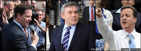 Nick Clegg, Gordon Brown, David Cameron
