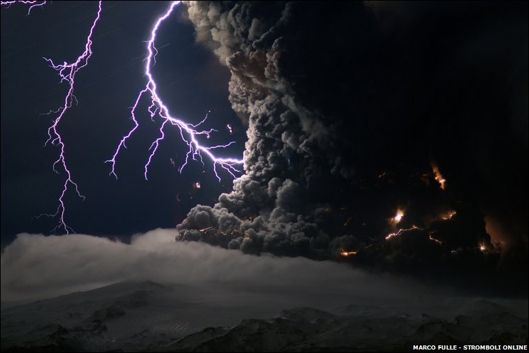 Ash and lightning above the Eyjafjallajokull volcano in Iceland