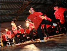 Young dancers taking part in Flintshire's Festival of Youth Sport, 2009