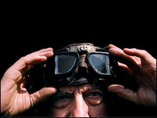 Man wearing flying goggles