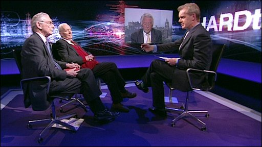 Stephen Sackur, Tony Benn, Lord Fowler and Lord Steel