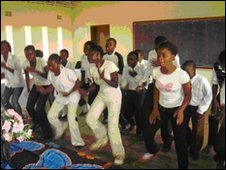 Students in Lusaka learning a Japanese dance