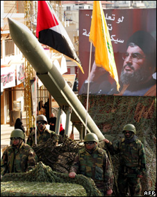 Hezbollah militants transport a missile during a parade in Nabatiyeh (January 2009)