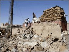 Destroyed building after militant attack in Kabul - 2010