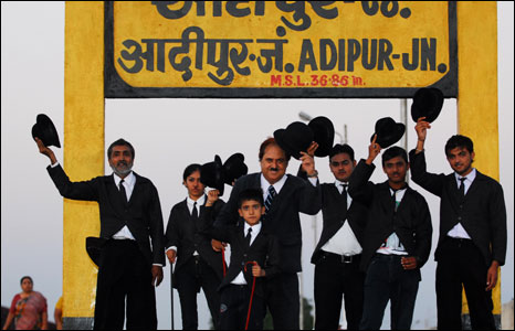 Chaplin impersonators at Adipur station
