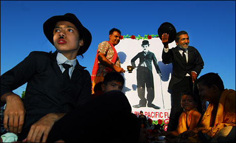 Chaplin impersonators' procession