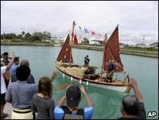 The crew take to the water in Tonga on 19 April 2010