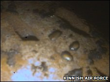 Volcanic ash damage on Finnish Air Force fighter jet turbine