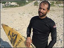 Gaza surfer Mohammed Abu Jayab