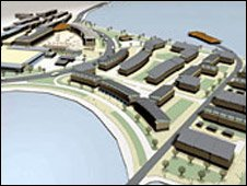 An artists impression of waterfront development