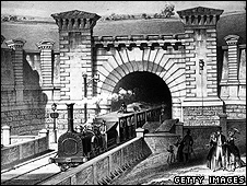 Drawing of a steam train on the Birmingham Railway in 1860