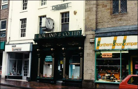 Then... the pharmacy and its clock has since relocated from High Street