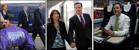 (L-r) Gordon Brown (with Lord Mandelson and Sarah Brown), David and Samatha Cameron, Nick Clegg