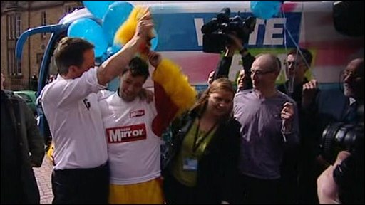 David Cameron and man dressed as a chicken