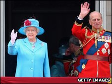 The Queen waves to the crowds on her official birthday