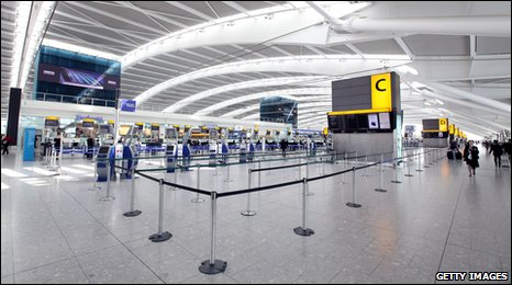 An empty Heathrow airport on Tuesday 20 April 2010