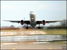 Plane taking off from Newcastle Airport