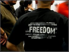 guy in a tshirt that says freedom