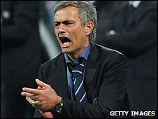 Inter boss Jose Mourinho celebrates a goal