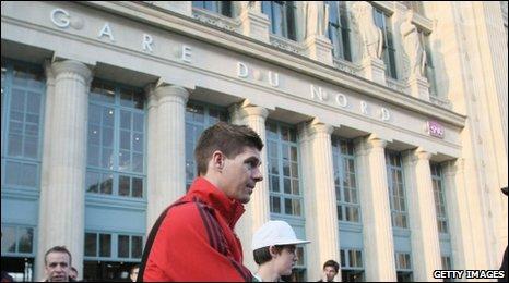 Steven Gerrard outside Paris train station