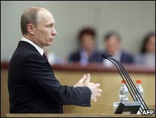 Russian Prime Minister Vladimir Putin addresses the State Duma