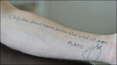 A tatoo on a US war veteran's wrist