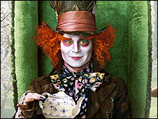 Johnny Depp plays the Mad Hatter from Carroll's story