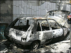 Burned car in Hawara village, 14.04.2010