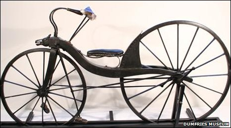A replica of the world's first bicycle (image from Dumfries Museum)