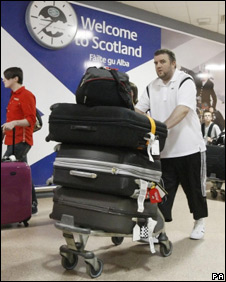 Passengers arrive in Glasgow