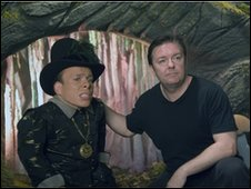 Warwick Davis and Ricky Gervais